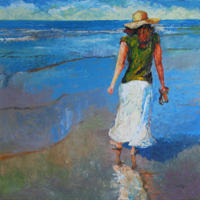 woman on beach - ARTWORKS exposed exhibit Woman on Beach, Oil on canvas, 36 x 36 inches