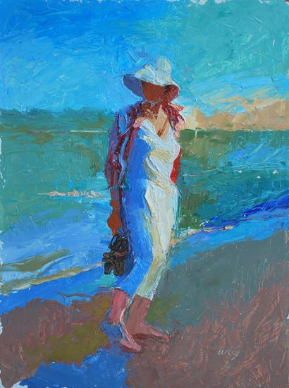Image result for woman on the beach in photo and modern painting